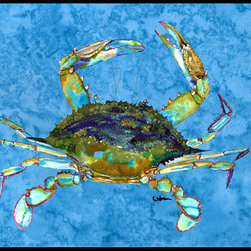Caroline's Treasures - Blue Crab Indoor Or Outdoor Mat 18X27 8656 - Blue Crab Indoor or Outdoor Mat 18x27 8656MAT INDOOR / OUTDOOR FLOOR MAT 18 inch by 27 inch Action Back Felt Floor Mat / Carpet / Rug that is Made and Printed in the USA. A Black binding tape is sewn around the mat for durability and to nicely frame the artwork. The mat has been permenantly dyed for moderate traffic and can be placed inside or out (only under a covered space). Durable and fade resistant. The back of the mat is rubber backed to keep the mat from slipping on a smooth floor. Wash with soap & water.