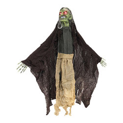 n/a - Flying Witch Ghoul with Light Up Eyes and Sound - This flying witch ghoul is an essential addition to your creepy Halloween decor, and it is sure to scare trick-or-treaters. The ghoul is sound activated and starts screeching and cackling with its red eyes flashing in the darkness. Its `body` is made of strips of gauze and it has posable arms and a resin head. Hang it from the loop on top of the head, or string it up by the back and the head with arms outstretched for the flying effect. The ghoul measures 36 inches from the top of the head to the bottom of the gauze strips. It runs on 2 AA batteries (included) that are replaceable, so you can enjoy startling those little candy beggars year after year.