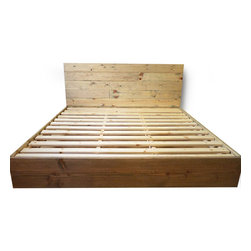 Pereida-Rice Woodworking - Platform Bed Frame and Headboard Set - Weathered Oak, King - A made-to-order bed frame from Pereida-Rice Woodworking