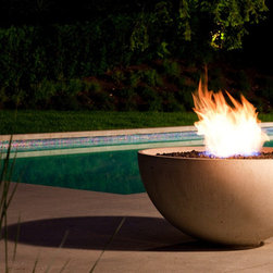 "Outdoor concrete fire bowl - The standard Firebowl Hemi 36"" x 17.5"" is available with a certified outdoor natural gas burner that produces a substantial 60,000 BTu/hr flame. It has a simple key valve and is manually lit.The fire pit is complete with a lava/fire rock topping.  Should a resort, hotel or restaurant select this fire pit it can be ordered with an additional glass protective shield."