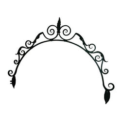 Antique Wrought Iron Architectural Fragment - An antique architectural salvage wrought iron ornate gate fragment. This beautiful archway has lovely detail and is painted in hunter green which adds to the European feel. It is a great and unique piece to display in a window or add one-of-a-kind detail to your wall.