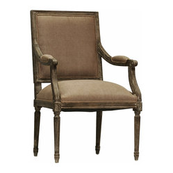 Kathy Kuo Home - Madeleine French Country Louis XVI Limed Copper Linen Arm Chair - Fusing classic European design with simple rustic charm. A distressed charcoal oak finish adds an antique touch to this Louis XVI style arm chair. Upholstered in a vintage copper linen, this traditional arm chair lends vintage elegance to a dining room.