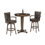 Hillsdale Furniture - Hillsdale Ambassador 36x36 Bar Table - A set that is not only functional and affordable, but attractive. The Ambassador features a rich cherry finish, supple brown leather, a rectangle back stool and transitional design elements. This set perfectly compliments our Ambassador game set or stands alone as an handsome addition to any bar area or kitchen.