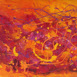 """Large Original abstract Painting 36"""" Red pink orange Modern artwork Contemporary - Original Authentic Large Contemporary fine art by Preethi Mathialagan. 100% hand painted on canvas and personally signed by the artist.-ORIGINAL Painting 36"""" x 24"""" Modern Contemporary orange abstract Painting Palette Knife textured fine art by Preethi Mathialagan-Autumn Leaves"""