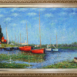 NA - Claude Monet 'Red Boats at Argenteuil' Hand Painted Framed Canvas Art - Artist: Claude MonetTitle: Red Boats at ArgenteuilProduct type: Canvas Art