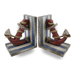 Zeckos - Wooden Rope and Anchor Distressed Finish Nautical Bookends Set of 2 - This set of wooden bookends is great for desks, shelves and bookcases in beach or ocean themed homes with their wonderfully weathered finish and classic red, white and blue theme. Featuring a ship's anchor with a natural rope accent, these nautical inspired set of 2 bookends will add nautical flair to your space while holding your favorite books on your office desk or your cookbook collection in the kitchen. Each bookend measures 6 1/2 inches (17 cm) high, 5 3/4 inches (15 cm) long and 4 5/8 inches (12 cm) wide, and make an amazing gift for nautical or beach decor collectors