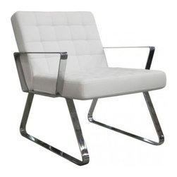 WhiteLine - Modern White Leather Lounge Chair Century - Modern white lounge chair Century features comfortable tufted seat and back are mounted on chromed stainless steel frame. The chair can be bought with two upholstery options: genuine leather and leatherette.