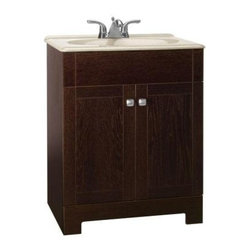 "American Classics by RSI - American Classics by RSI PPFSJVO24Y Java Renditions Renditions 24-3/4"" - Vanity Package Includes:Vanity cabinet constructed of hardwood materialNatural stone vanity / counter topSingle basin bathroom sinkVanity Cabinet Features:Constructed of hardwood materialVanity features 1 full sized cabinet with matching doors providing ample storage spaceThis model is a complete package - base and top are includedComplete with matching decorative hardwareVanity is crated and shipped fully assembledSolid construction and assembly provides years of reliable performanceVanity Top Features:Vanity top is constructed of natural stone provides a sturdy feel and clean appearanceTop features a recessed single basin bathroom sinkCenter drain location provides optimal draining capabilityFaucet and waste assembly not included with this model - must be purchased separatelySturdy mounting assembly – ensuring safety and reliabilityAll hardware needed for installation is includedVanity Cabinet Specifications:Overall Height: 32-3/4"" (measured from ground level to highest point on vanity)Overall Width: 24-3/4"" (measured from left most to right most part on vanity)Overall Depth: 18-3/8"" (measured from back most to front most part on vanity)Mounting Style: FreestandingNumber of Drawers: 0Number of Doors: 2Vanity Top Specifications: Overall Width: 24-3/4"" (measured from left edge to right edge of vanity top)Overall Depth: 18-3/8"" (measured from back edge to front edge of vanity top)Sink Included: YesDrain Outlet Connection: 1-1/2"""