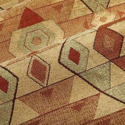 Chuska Geometric Upholstery Fabric in Desert - Chuska Geometric Upholstery Fabric in Desert is a multi-color chenille with a hearty hand perfect for upholstering sofas, chairs, and ottomans. This design center fabric is now available online by the yard with FabricSeen's signature discount. American made from a blend of 64% rayon, 33% cotton, and 3% polyester. This fabric passes 15,000 Martindale double rubs. Cleaning code: S. Repeat: 13″V 12 1/2″H; Width: 54″.