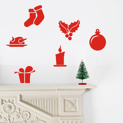 ColorfulHall Co., LTD - Window Stickers Christmas Stockings Ball Candles Present Turkey - Window Stickers Christmas Stockings Ball Candles Present Turkey