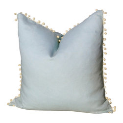 PillowFever - Linen Pillow Cover, Sky Blue with Off-White Pom-Pom Trim - Pillow insert is not included!