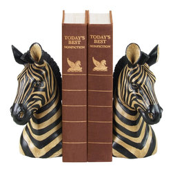 Sterling Industries - Sterling Industries Pair Zebra Bookends X-0221-39 - Designed in mirror images of one another, this Sterling Industries bookends set adds color and interest without overwhelming the space. These zebra bookends are done in black and gold, which adds a more unique twist to their traditional color scheme.