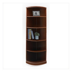Mayline - Mayline Sorrento 5 Shelf Quarter-Round Bookcase in Bourbon Cherry - Mayline - Bookcases - SBQ5SCR - The Sorrento veneer desking system is a transitional line of wood office furniture for executive offices individual workspaces conference rooms and reception areas. This line combines a high end look and technology-friendly features. Sorrento uses AA-grade North American Hardwood veneers throughout.
