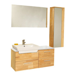 Fresca - Caro Natural Wood Vanity w/ Mirrored Side Cabinet Fiora Chrome Faucet - This solid wood ensemble is contemporary and chic in design.  This vanity offers a touch of sophistication of white counter top contrasted and a white basin against natural wood.  Comes with a mirror and an additional storage cabinet.  Ideal for anyone looking for a simple yet elegant look.   Many faucet styles to choose from.
