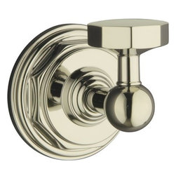 """Kohler - Kohler K-13113-SN Polished Nickel Pinstripe Pinstripe Robe Hook - Pinstripe(tm) robe hook Evoking the classic elegance and Art Deco sensibility of the 1930s, Pinstripe(tm) accessories create a crisp, refined look in any bath or powder room. The strong lines, curves and octagonal contours of this robe hook provide coordinated styling that complements the Pinstripe faucet line. 2-1/4""""W x 2-11/16""""D x 2-1/2""""H Coordinates perfectly with Pinstripe faucets  Premium metal construction for durability and reliability  Tools and drilling template included for easy installation"""