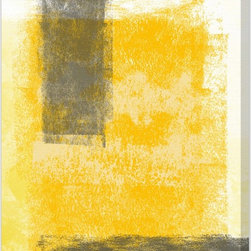 """The Oliver Gal Artist Co. - """"Evolving Present"""" Canvas Art - Bring happiness home with the bold colors and textures of this hand-signed print on canvas. When hung over a bedside table or dresser, bright   yellows and soothing grays make for a creative and mood-lifting image you'll be happy to invite into the bedroom."""
