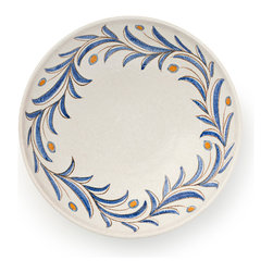 BY MERCATO - Large Olive Branch Serving Bowl - The Ramo d'Olivo collection uses an Italian motif universally known – the olive branch, symbol of peace. A design element often seen in ceramics designed in the late 15th century, this design on this large serving bowl is simple and timeless. Leaves of blue meander around the rim of the creamy white bowl with yellow tinted olives sprouting between. If you've ever been to Italy, you never forget the blue grey olive trees dotting the hills. We love the simplicity and versatility of this design and use it in both casual and formal settings.