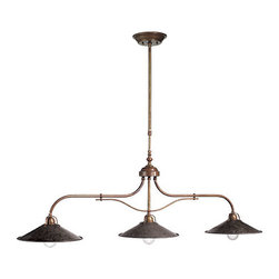 "Il Fanale - Il Poggio Triple Pendant - Il Poggio antique brass triple pendant. 12"" diameter shades, 63""h (height is adjustable), 55""l. Hand-crafted in Italy."