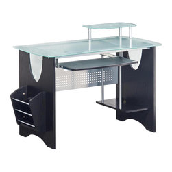 RTA Products - Techni Mobili Glass-Top Home Office Desk - Espresso - This modern Techni Mobili Glass-Top Home Office Desk features a magazine rack, slide-out keyboard shelf with safety stop, an elevated CPU shelf, and an elevated accessory shelf. The spacious and sturdy design is made with heavy-duty engineered wood panels with a moisture resistant PVC laminate veneer, scratch-resistant powder-coated steel, and frosted heavy-duty 8 mm tempered safety glass on the desktop and accessory shelf. The desktop has an 80 lb weight capacity while the pull-out keyboard tray, CPU shelf, and accessory shelf each have a 30 lb weight capacity.