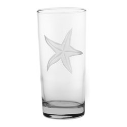 Rolf Glass - Starfish Cooler 15oz, Set of 4 - Tall and long and lovely, this set of glasses won't disappoint. You can use them for everything from lemonade to Mai Tai's. Made from cut glass. A engraved starfish floating in sea grass adds beach-house appeal.
