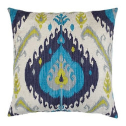 """Z Gallerie - Samara Pillow 24"""" - Take a fresh approach to your decor by adding the bold pattern and rich color of our outstanding Samara Pillow to your furniture pieces. Inspired by traditional ikat patterns, blends of colors decoratively intermingle creating a stunning display of contrast and texture. Display as a show stopping accent pillow, or pair together with a contrasting mix of prints for an enticing display of pattern.  Generously sized at 24 inch square and is filled with pure feathers, our Samara Pillows are the ultimate in sink-into sumptuousness. Available in Flame, Jade and Sapphire."""