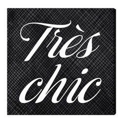 "The Oliver Gal Artist Co. - 'Tres Chic' Fine Art Canvas 16"" x 16"" - Perfect for the francophile in your life, this ""Très Chic"" canvas says it all. The sophisticated color palette of black and white complements any home decor style, while the whimsical typeface takes it to a glamorous level. Choose from two sizes and find the perfect wall for this bold statement."