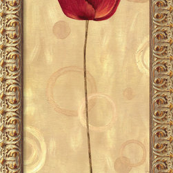 Amanti Art - Pop Art Poppies II Framed Canvas by Daphne Brissonnet - Elegant yet contemporary, this winsome poppy adds a dash of warm red that will complement any design.