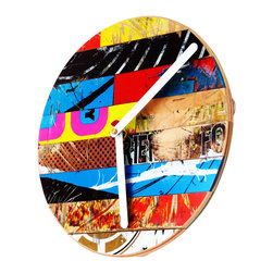 Deckstool - Recycled Skateboard Furniture - Recycled Skateboard Wall Clock by Deckstool - Minimal and modern, yet graphic and colorful. Handcrafted from 100% ripped and recycled skateboards, every clock is a one-of-kind piece of functional skate-art for your wall.