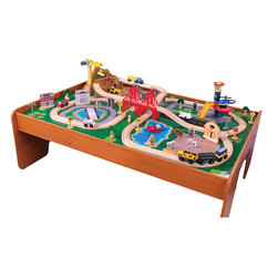 "KidKraft - Kidkraft Home Indoor Kids Playroom Ride Around Town Train Set With Table - With our exciting Ride Around Town Train Table and Set, the young conductors in your life have an entire busy community at their fingertips. The train set will provide kids with hours of imaginative play while the table helps keep playtime off the floor and closer to eye level. Dimension: 47.8""Lx 34.1""Wx 15.8""H"