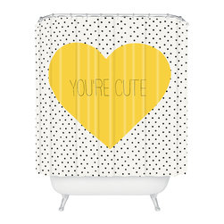 DENY Designs - Allyson Johnson You Are Cute Shower Curtain - Who says bathrooms can't be fun? To get the most bang for your buck, start with an artistic, inventive shower curtain. We've got endless options that will really make your bathroom pop. Heck, your guests may start spending a little extra time in there because of it!