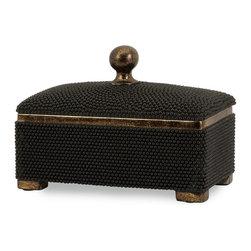 iMax - iMax CK Caviar Box X-9102 - Caviar detailed storage box with antiqued bronze finish.