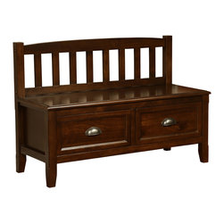 Simpli Home - Burlington 42 inch wide Entryway Bench in Espresso Brown - You want to your front entrance to be dramatic and spectacular. We understand.  We designed the Burlington Storage Bench with exactly this in mind. This beautiful bench enhances your entryway while creating added storage and seating for your entryway or mudroom. Understanding that functionality is most important, this bench features two large drawers allowing for easy retrieval of articles from within.