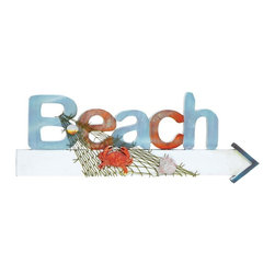 Benzara - Wood Beach Sign in Marine Theme with Net and Marine Life - Visually appealing and sturdily designed, this beach sign wall hanger adds to the eclectic appeal of your home decor. This beach sign hanger adds a maritime appeal to your living space with its lively features and colorful display. The beach sign is made of high quality wood and ensures it stays strong and durable for a long time without any damage. The beach letters are carved stylishly in brown and blue colors and add to the attraction. The letters stand boldly on the wooden arrow that is finished in bright white and tipped with blue. The piece is accented with a marine theme that is recreated using a net and marine life images. The net is tied around the signboard while a couple of clams and an orange crab cling to the net. Theses seaside motifs add an effervescent charm to your home. This signboard can be displayed as a worthy art piece with its excellent craftsmanship and overall design.