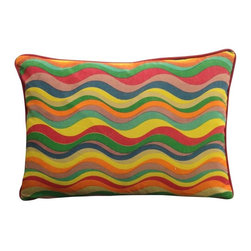 Color Wave Rectangle Pillow - Ride on the current of vibrant colors and encompass the tantalizing affects of our Color Waves Pillow.  Handcrafted from all natural materials this throw is a kaleidoscope of harmonious hues and an epiphany of comfort.