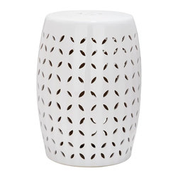 Safavieh - Majorca Garden Stool - Embellished with a lattice pattern of stylized flower petal cut-outs, this sophisticated garden stool is crafted of ceramic and finished with a pure white glaze. Use as extra seating, as a handy side table, or place several in a cluster for drama indoors or out.