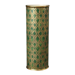 """L'Objet - L'Objet Fortuny Vase Peruviano Green Large - . L'Objet Fortuny Vase Peruviano Green Large The artisans of Venice inspire us. Their carefully guarded secrets of technique have been handed down directly from the ancient world, one generation of skilled hand-crafters to the next. There is one who especially speaks to the heart of L'Objet - the legendary fashion and textile designer Mariano Fortuny - revealing a deep and kindred connection that transcends time. It sets the pattern and pace of this collaboration.EarthenwareHand Applied 24K GoldHand Wash: Measures: 4.5"""" Dia x 12"""" TallLuxuriously Gift Boxed"""