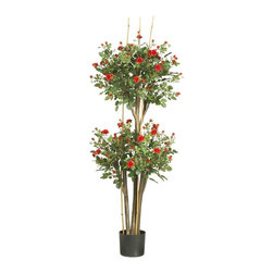 Nearly Natural - 5' Mini Rose Silk Tree - Not for outdoor use. 2080 leaves. Elegance meets traditional topiary style. Delicately crafted petals and miniature buds. Included container size: 7 in. W X 6 in. H22 in. W X 22 in. D X 5 ft. H (14.5lbs). Rose enthusiasts will adore this topiary style mini-rose silk tree. With its popular double ball pattern, this elegant work of art is a refreshing change from traditional topiary shrubs. Dainty delicately crafted crimson petals and fresh miniature buds fill each sphere shaped bloom. A full 5' high, this enchanting beauty makes a bold statement despite its feminine charm and appeal.