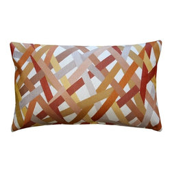 Pillow Decor - Pillow Decor - Streamline Orange 12 x 20 Throw Pillow - Warm hues of orange, red and yellow crisscross this pillow in complementary stripes. This is a versatile accent pillow that can be used to tie in other accent pieces, artwork or furniture in similar colors. The Streamline Orange 12 x 20 Rectangular Throw Pillow will work well layered in front of larger coordinating solid color pillows, creating an elegant and contemporary look.