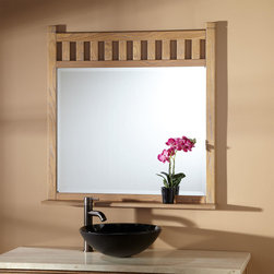 """36"""" Toby Vanity Mirror - Weathered Oak - Express your appreciation for well-built accents with the 36"""" Toby Vanity Mirror, made of solid hardwood. A slatted design and beveled glass combine for a look that makes it a modern classic. Pairs nicely with the Toby Vanity collection."""