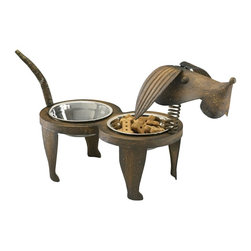 Cyan Design - Cyan Design Rex Pet Feeder X-29040 - This Cyan Design pet feeder features a metal body with rough styling that gives it charm and appeal. The Rex pet feeder features a dog head with a coil neck and iron body. Pecan finishing compliments the canine design perfectly.