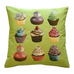 Pillow Decor Ltd. - Cupcakes on Green French Tapestry Throw Pillow - Are you a frosting or cake type of person? Trick question! True cupcake lovers adore both. When you bring this cupcake-laden throw pillow into your home, you may want to find a place for it in the kitchen for baking inspiration. Nine artful and unique treats adorn this delectable piece in an array of colors to suit any taste.
