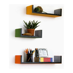 Blancho Bedding - Groovy Colours U-Shaped Leather Wall Shelf / Floating Shelf  Set of 3 - These beautifully crafted U Shaped Wall Shelves display the art of woodworking and add a refreshing element to your home. Versatile in design, these leather wall shelves come in various colors and patterns. They spice up your home's decor, and create a multifunctional storage unit for all around your home. These elegant pieces of wall decor can be used for various purposes. It is ideal for displaying keepsakes, books, CDs, photo frames and so much more. Install as shown or you may separate the shelves to create a layout that suits your taste and your style. Each box serves as a practical shelf, as well as a great wall decoration.