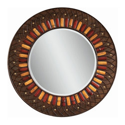 Bassett Mirror - Plantation Style Round Wall Mirror - Bamboo and Sliver Rattan - Round. Measures: 40 in. Round.
