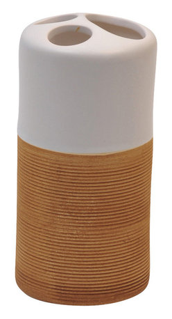 Stoneware Toothbrush Holder Matt Ecobio White/Bamboo - This printed toothbrush holder Bamboo for bathrooms is in stoneware. This toothbrush holder is a lovely accent for any bathroom and it is in white lacquer on the top and ribbed texture imitation Bamboo below for an optimal in-hand feel. Diameter 2.44-Inch and height 5.12-Inch. It has three slots for toothbrushes and toothpaste. Wipe clean with a damp cloth. Color white and beige. Accessorize your bathroom countertop in a trendy style with this charming toothbrush holder! Complete your Bamboo decoration with other products of the same collection. Imported.