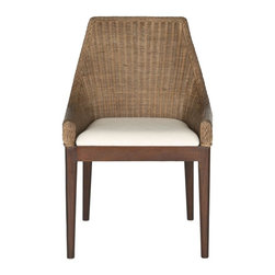 Safavieh - Felicia Sloping Chair - Park Avenue upgrade. The Felicia sloping chair combines classic transitional style with the natural beauty of finely woven rattan. Chic mahogany legs framing a tailored white upholstered cotton cushion ensure elegant encounters over dinner or drinks.