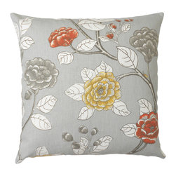 Gray peony floral decorative pillow cover - One decorative pillow cover made to fit a size 18x18 insert. Gray, yellow and orange floral peony floral cotton fabric. Same fabric featured on both the front and back and finished with a concealed bottom zipper closure. Pillow insert not included.