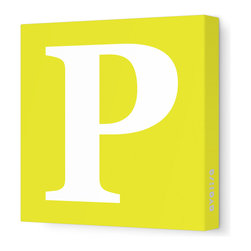 "Avalisa - Letter - Upper Case 'P' Stretched Wall Art, 18"" x 18"", Yellow - Spell it out loud. These uppercase letters on stretched canvas would look wonderful in a nursery touting your little one's name, but don't stop there; they could work most anywhere in the home you'd like to add some playful text to the walls. Mix and match colors for a truly fun feel or stick to one color for a more uniform look."