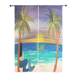 "xmarc - Mermaid Art Sheer Curtains, 30"" X 84"", Brunette Beach Mermaid - The windows have it with these sheer, beach decorative curtains. Romantic and flowing, these elegant chiffon window treatments finish a room with the perfect statement."