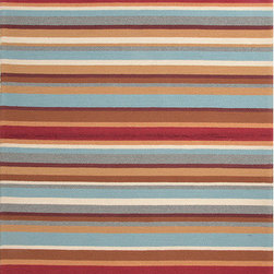 """Jaipur Rugs - Colours I-O Red Stripe Rug - Features: -Technique: Hooked / Looped cut.-Material: Polypropylene.-Origin: China.-Indoor and outdoor style.-Durable.-Easy care.-Luxurious and unique.-Polyester is dirt and stain resistant and will look great for a long time just by vacuuming regularly.-Dries fast so deep steam/rug cleaning works great to release dirt from fiber.-If spills occur blot immediately.-Use rug/carpet cleaners that are safe on synthetic fibers.-Use professional cleaning agents only.-Vacuum use an attachment arm or suction only to remove dirt particles.-Construction: Handmade.-Collection: Colours I-O.-Distressed: No.-Collection: Colours.-Construction: Hand Hooked.-Technique: Indoor & Outdoor.-Primary Pattern: Geometric.-Primary Color: Brick Red.-Border Material: Polypropylene.-Border Color: Brick Red.-Type of Backing: Latex backing.-Material: Polypropylene.-Fringe: No.-Reversible: No.-Rug Pad Needed: No.-Water Repellent: No.-Mildew Resistant: No.-Stain Resistant: No.-Fade Resistant: No.-Eco-Friendly: No.-Outdoor Use: Yes.-Product Care: (1) Polyester is dirt and stain resistant and will look great for a long time just by vacuuming regularly, (2) Dries fast so deep steam/rug cleaning works great to release dirt from fiber, (3) If spills occur blot immediately, (4) Use rug/carpet cleaners that are safe on synthetic fibers, (5) Use professional cleaning agents only, (6) To vacuum use an attachment arm or suction only to remove dirt particles.Specifications: -CRI certified: No.-Goodweave certified: No.Dimensions: -Pile height: 0.25"""".-Pile Height: .25"""".-Overall Product Weight (Rug Size: 2' x 3'): 2.4 lbs.-Overall Product Weight (Rug Size: 3'6"""" x 5'6""""): 7.7 lbs.-Overall Product Weight (Rug Size: 5' x 7'6""""): 15 lbs.-Overall Product Weight (Rug Size: 7'6"""" x 9'6""""): 28.5 lbs.-Overall Product Weight (Rug Size: Runner 2'6"""" x 8'): 8 lbs.Warranty: -Product Warranty: 60 Days."""