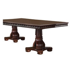 ACME Furniture - Acme Abbeville Double Pedestal Table in Cherry - This Abbeville collection featured elaborate carving and careful details brings beauty reserved only for master dining room. The dining chairs reflect carefully selected leather like PU and wood carving and tapestry in a symphony of material. Ring designed seat back brings your formal dining room a new look but still with a traditional characteristic.